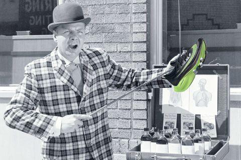 photo illustration of a snake oil salesman holding up the Nike Alphafly