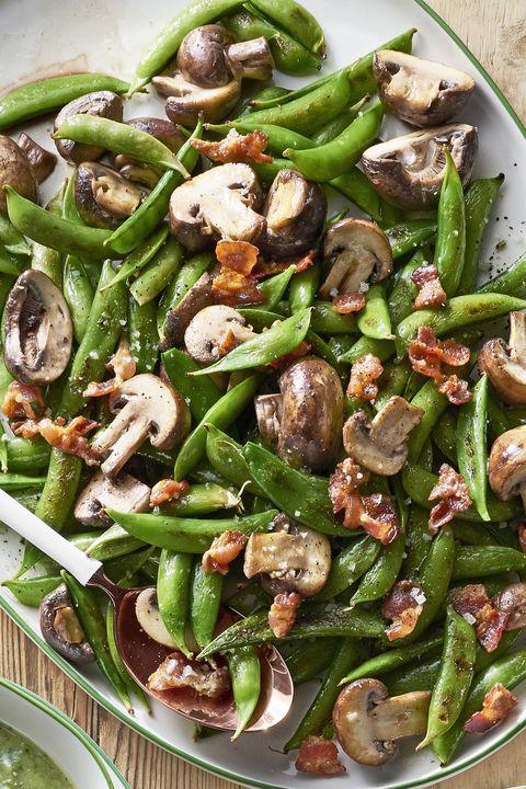 roasted snap peas and mushrooms