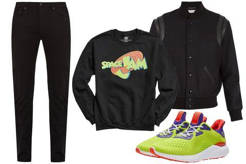 Clothing, sweatpant, Sportswear, Outerwear, Jeans, Footwear, Active pants, Jacket, Trousers, T-shirt,