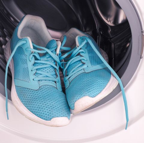 sneakers inside the washing machine