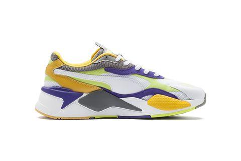 Footwear, Shoe, Sneakers, White, Yellow, Violet, Sportswear, Outdoor shoe, Walking shoe, Product,