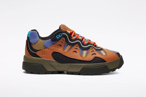 Shoe, Footwear, Outdoor shoe, Sneakers, Walking shoe, Orange, Running shoe, Sportswear, Brown, Product,