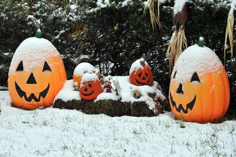 A snow covered Halloween decoration is s