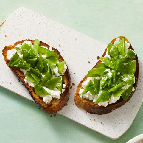 snow pea and ricotta toasts recipe