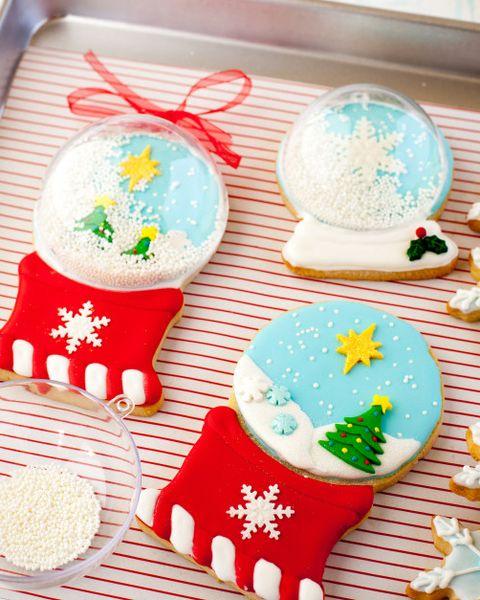 christmas cookies snow globe