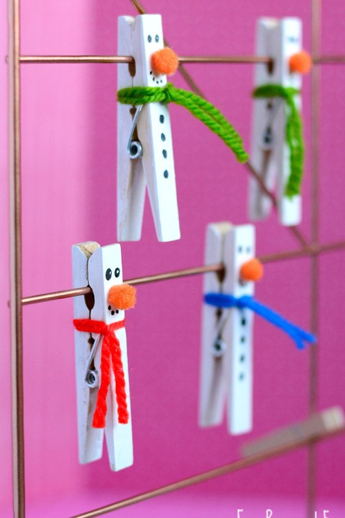 snowman crafts clothespin