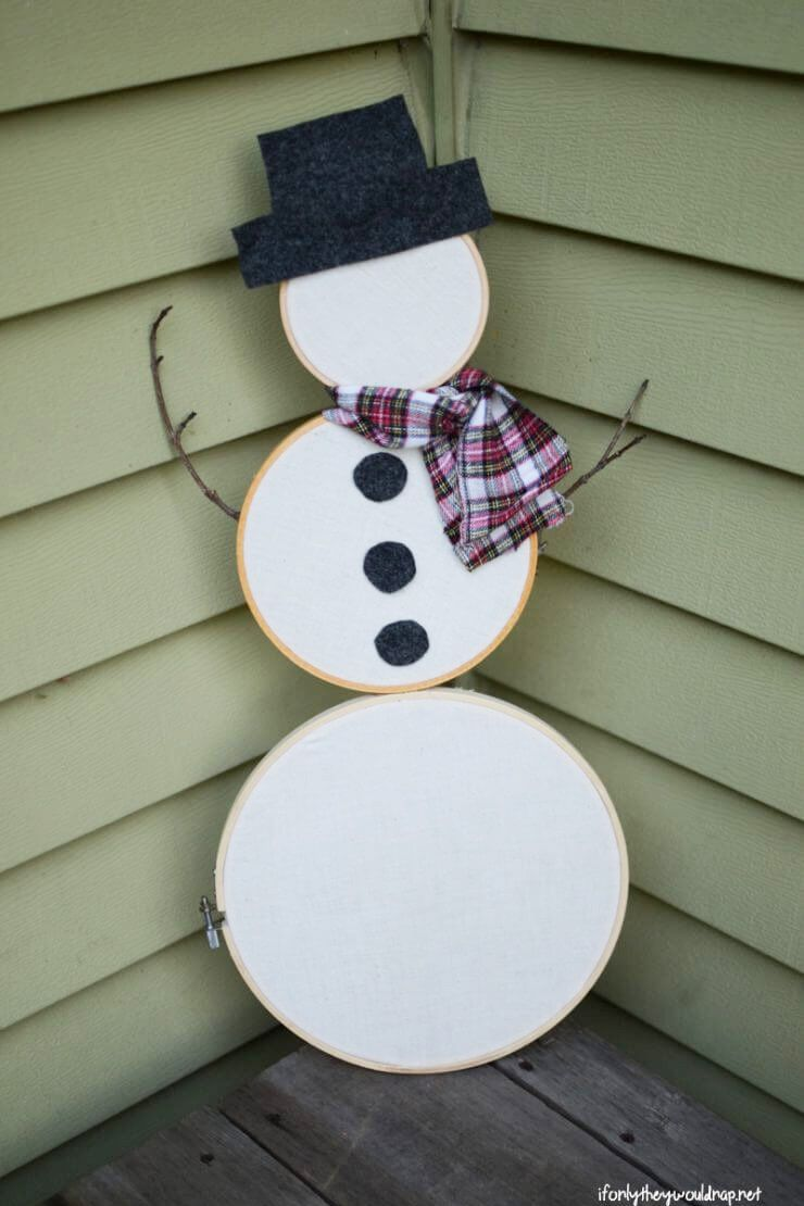 snowman crafts embroidery hoop