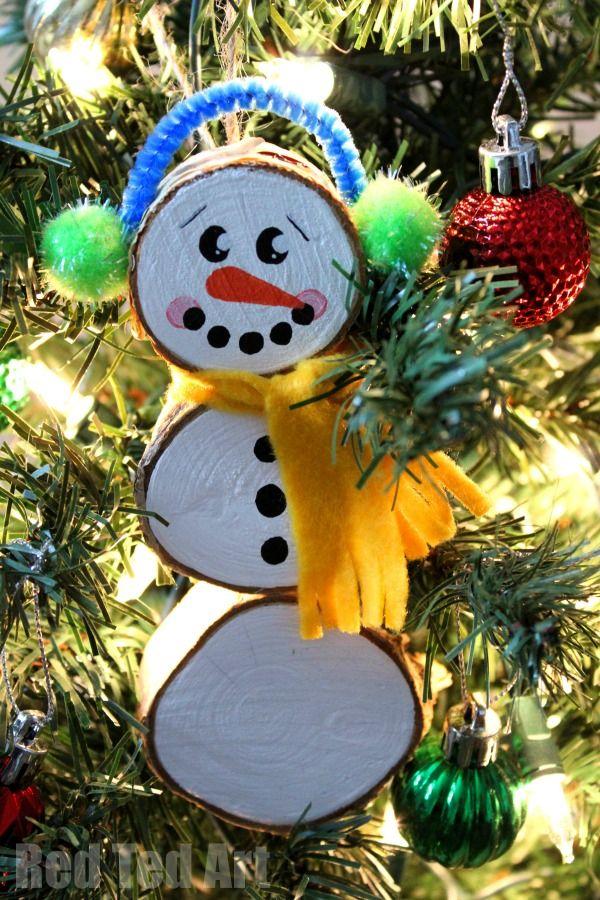 snowman crafts wood slice