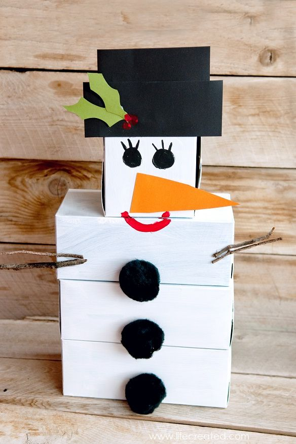 snowman tissue box bowling - christmas games