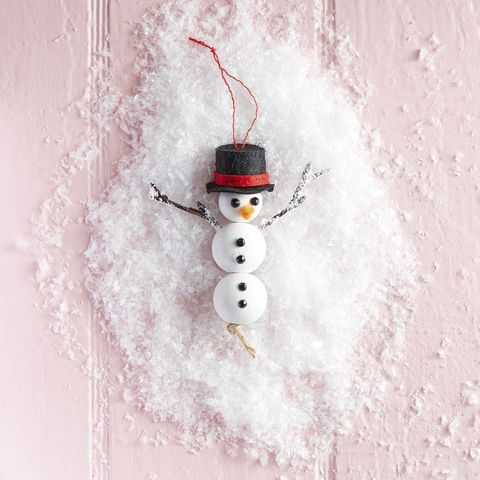 wooden bead snowman ornament