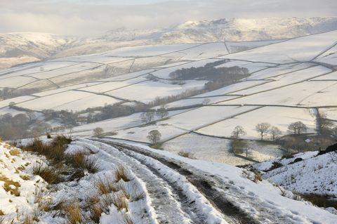 Snowy fields near Hayfield
