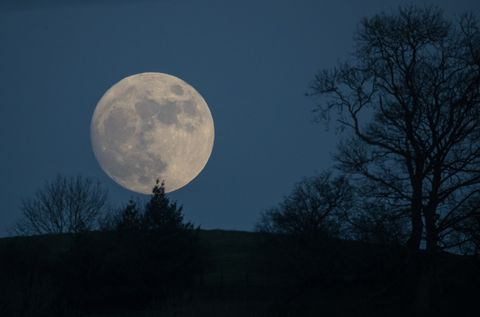 Wolf Moon Rises Over Glastonbury Ahead Of Met Office Severe Weather Warnings