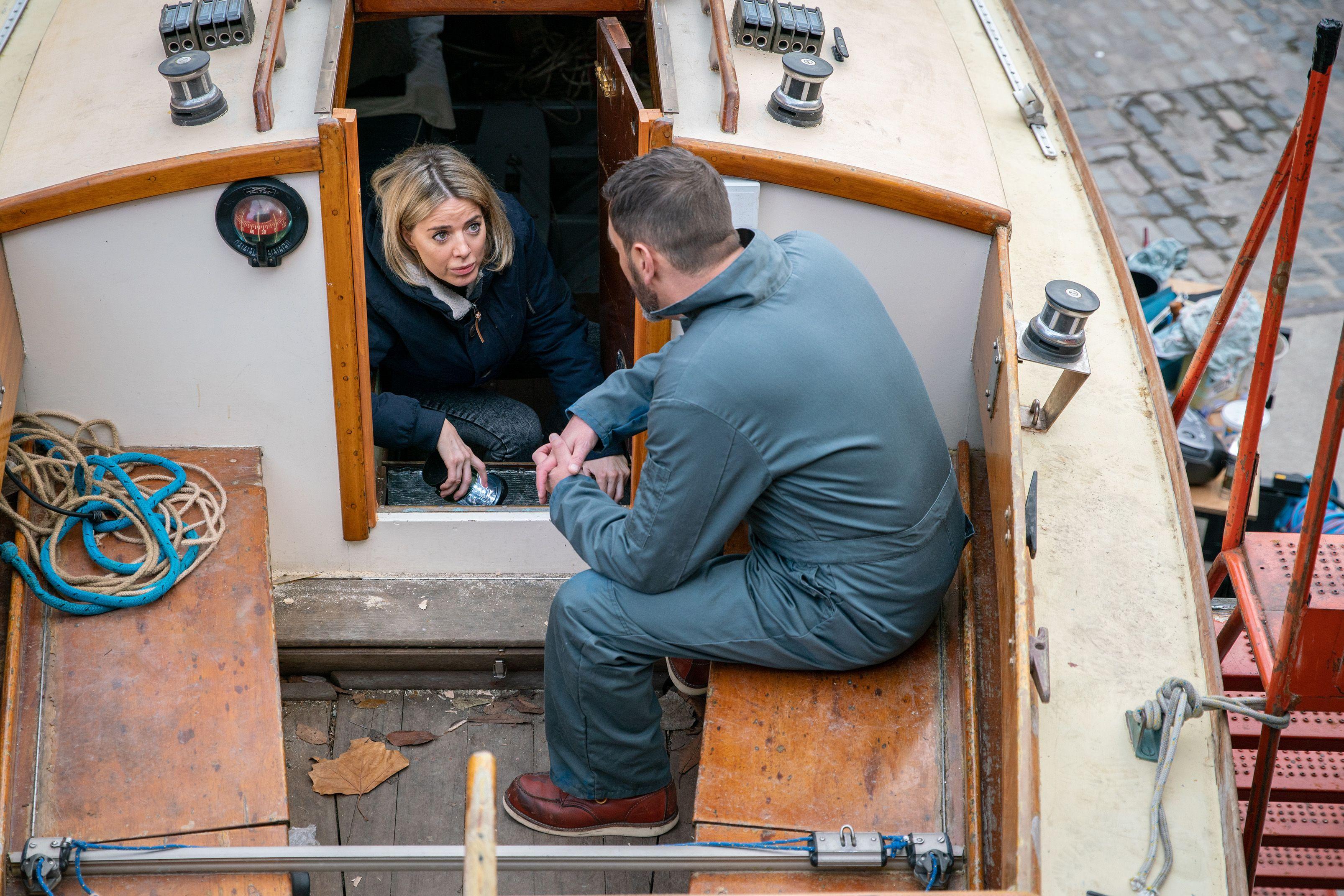 Abi Franklin helps Peter Barlow on the boat in Coronation Street