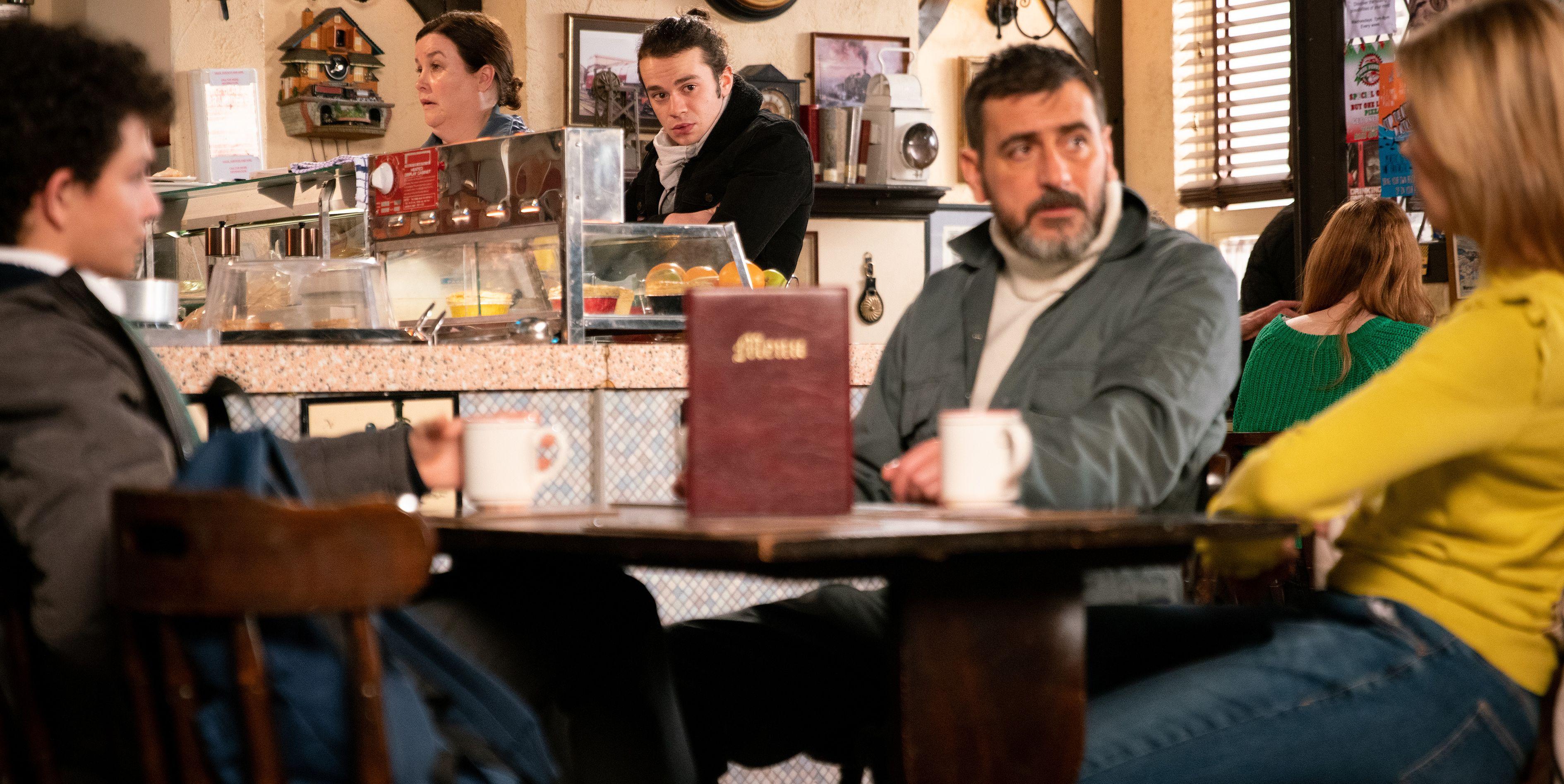 Seb Franklin hears Peter Barlow talking about Abi in Coronation Street