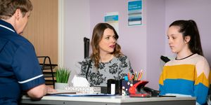 Tracy Barlow joins Amy Barlow at the family planning clinic in Coronation Street