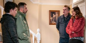 Steve McDonald and Tracy Barlow confront Simon Barlow in Coronation Street