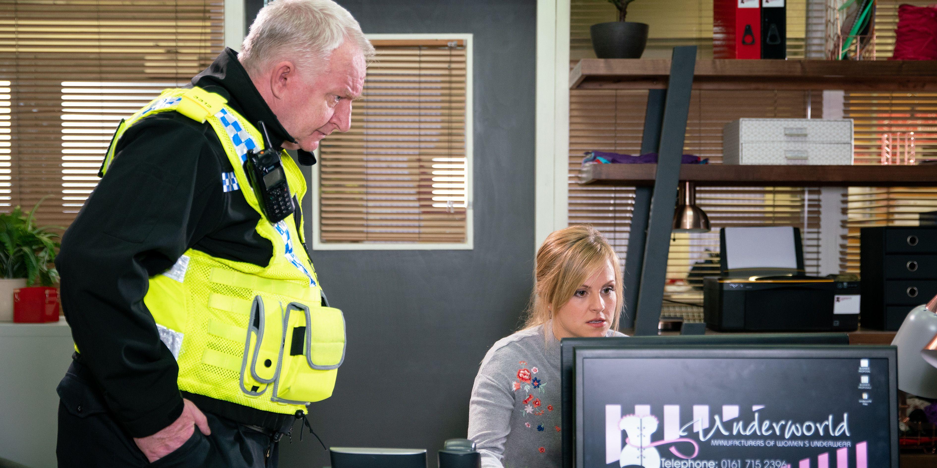 Sarah Platt checks the CCTV in Coronation Street