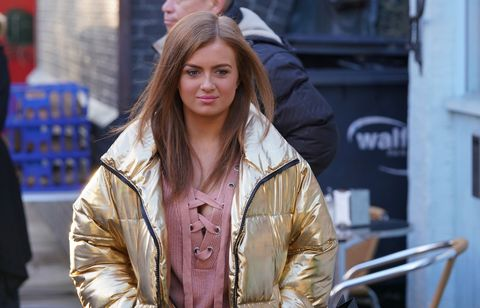 Tiffany Butcher after sneaking out of the Taylors' in EastEnders