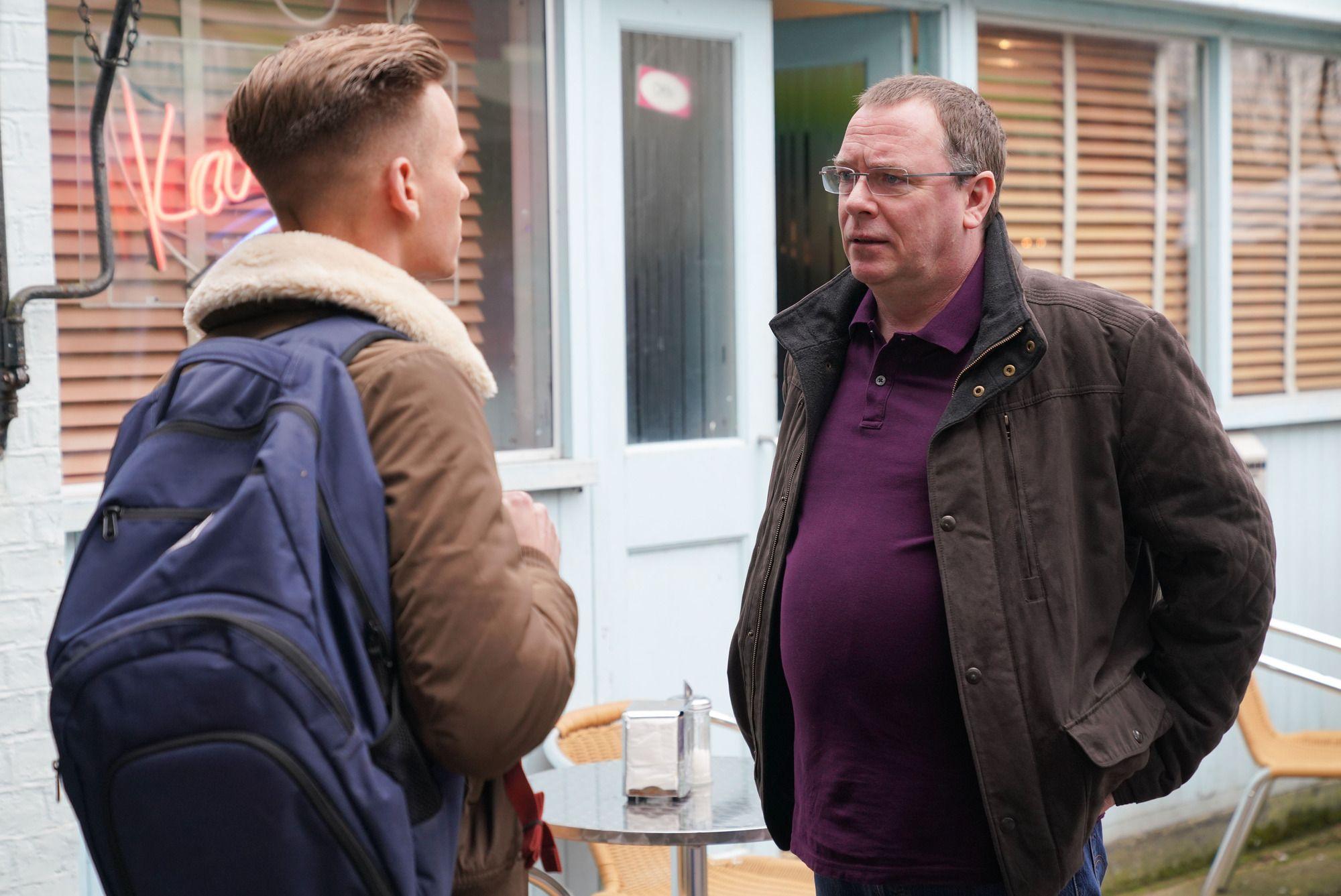 Ian Beale quizzes Hunter Owen in EastEnders