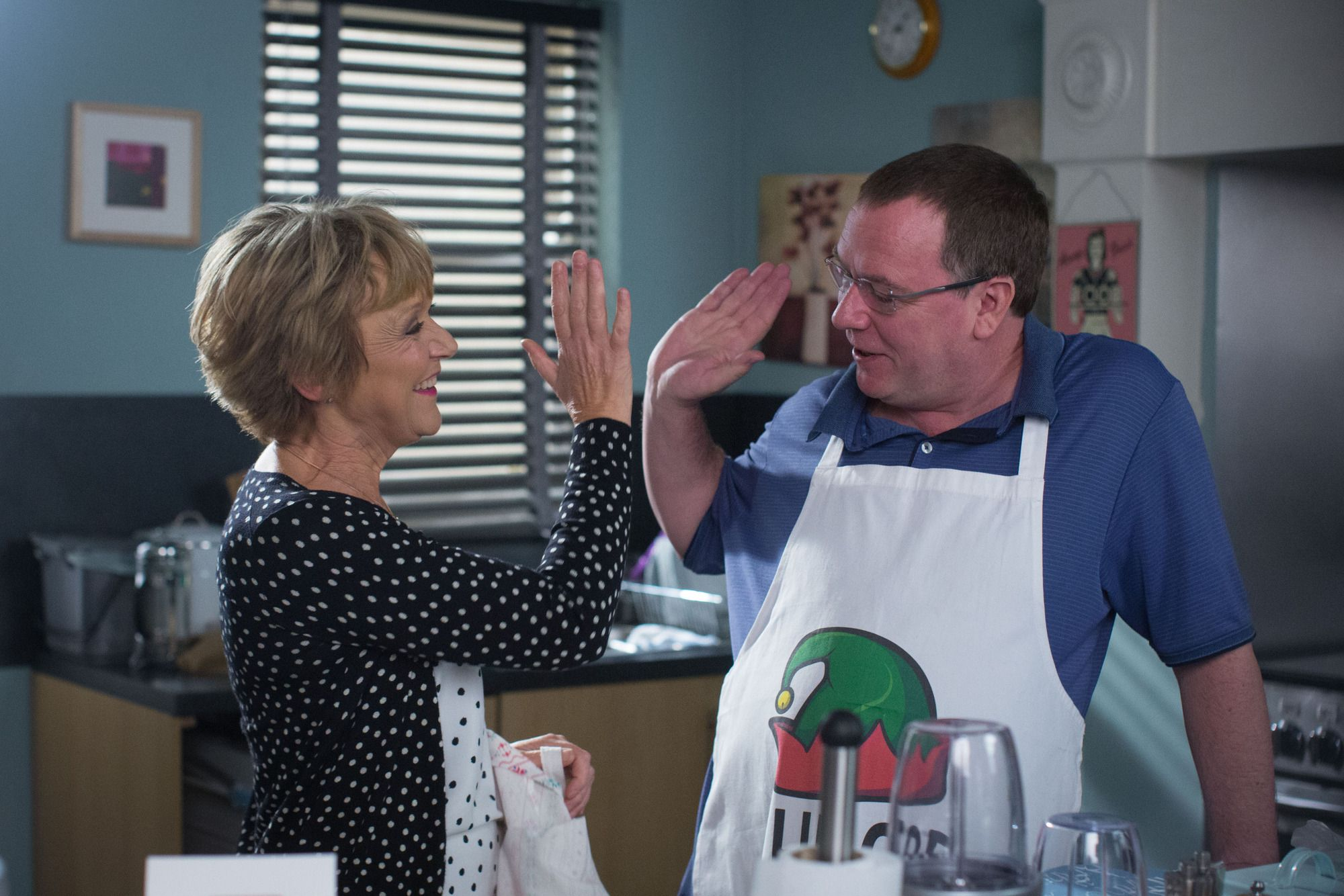 Jean Slater and Ian Beale share a tender moment in EastEnders