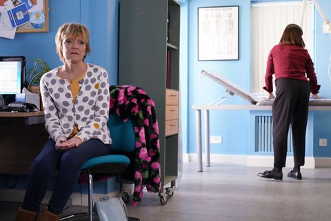 Jean Slater receives news at the hospital in EastEnders