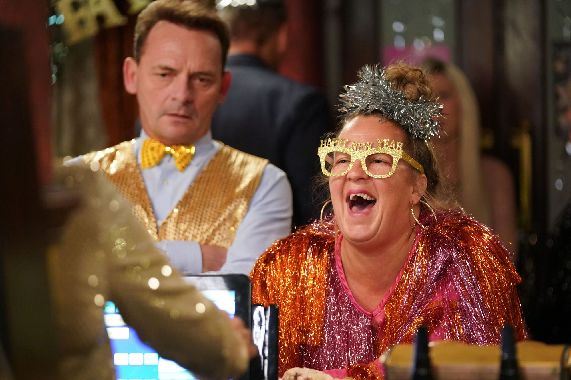 Karen Taylor enjoys New Year's Eve at the Queen Vic in EastEnders