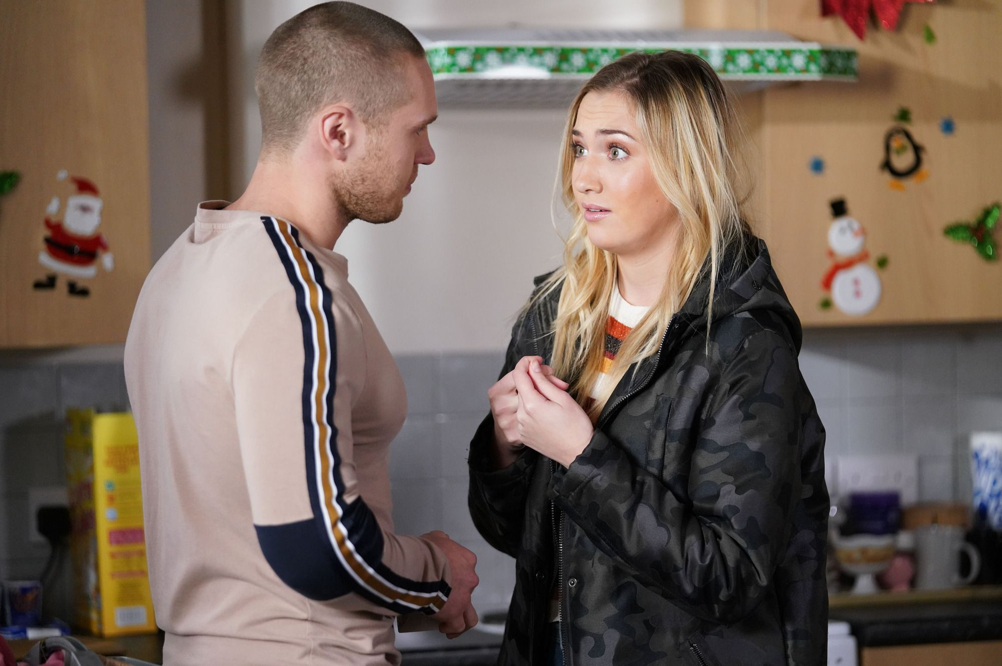Keanu Taylor and Louise Mitchell in EastEnders