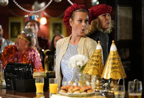 Tina and Shirley Carter on New Year's Eve in EastEnders