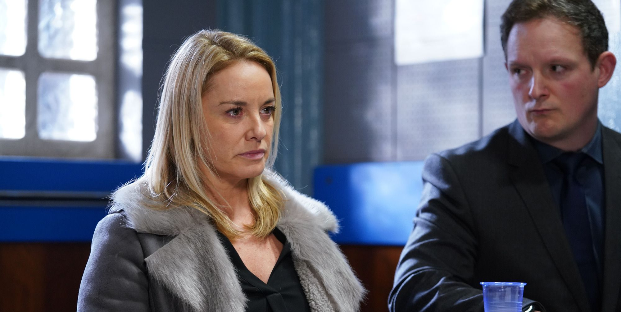 Mel Owen is questioned by the police in EastEnders