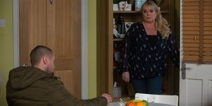Sharon Mitchell receives a visit from Keanu Taylor in EastEnders