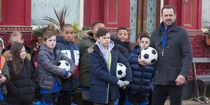Mick Carter organises a football match in EastEnders