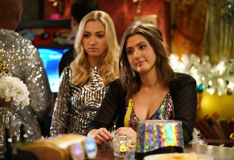 Louise Mitchell and Bex Fowler on New Year's Eve in EastEnders