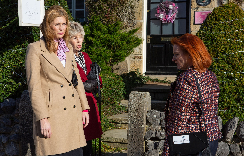 Bernice Blackstock argues with Nicola King in Emmerdale