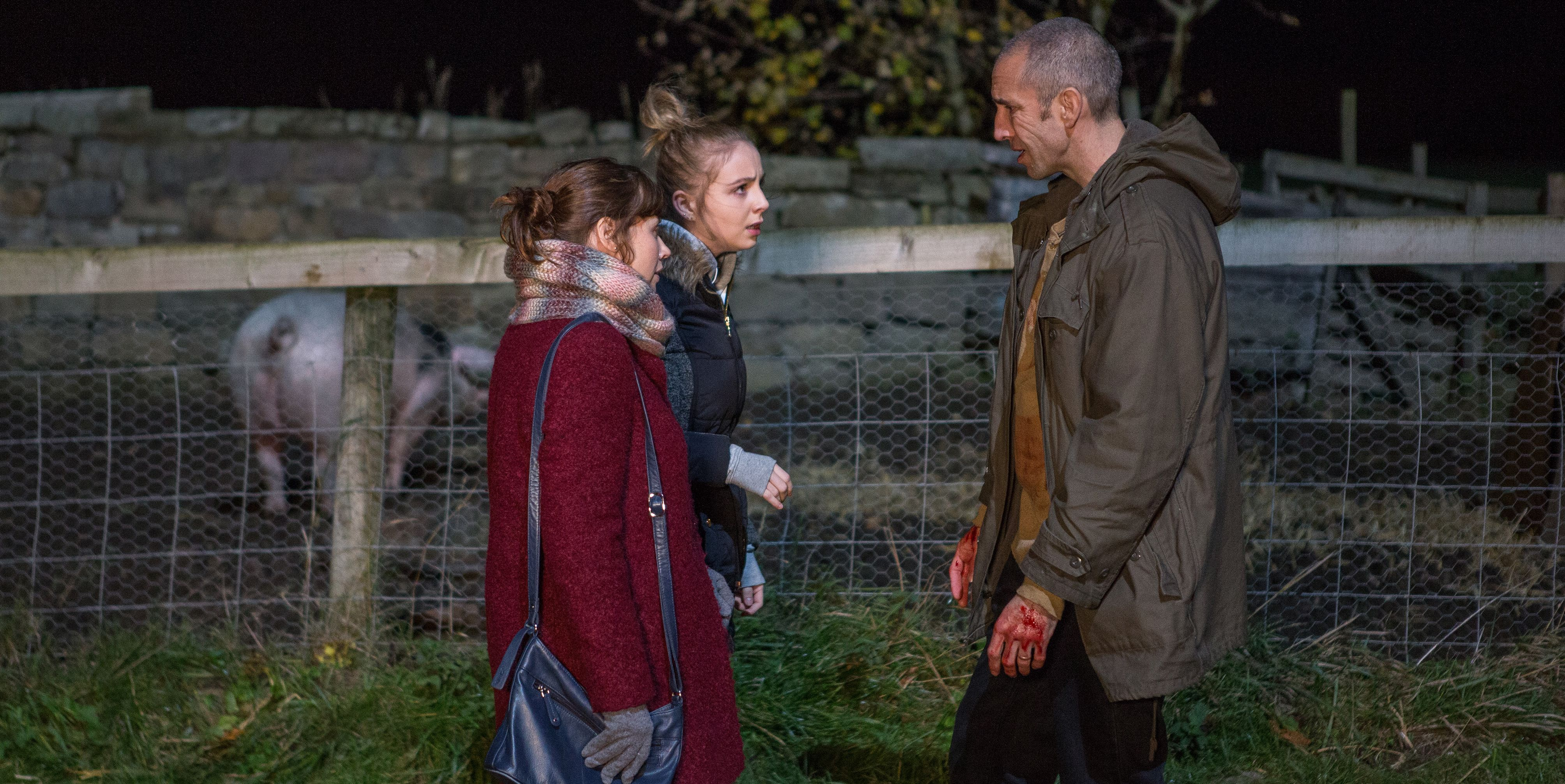Lydia Hart, Belle Dingle and Sam Dingle make a shocking discovery in Emmerdale