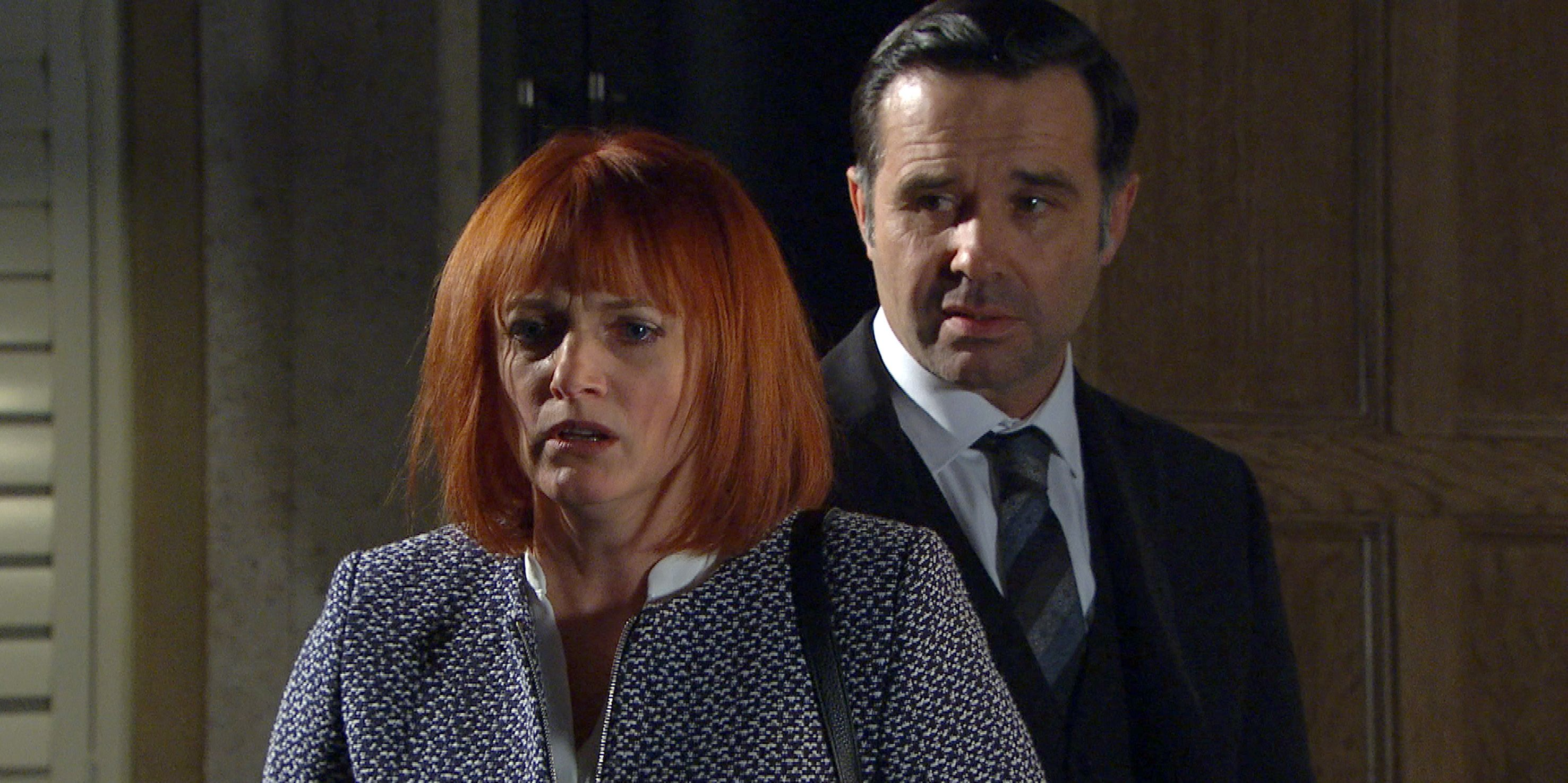 Nicola King realises Graham Foster knows the truth in Emmerdale