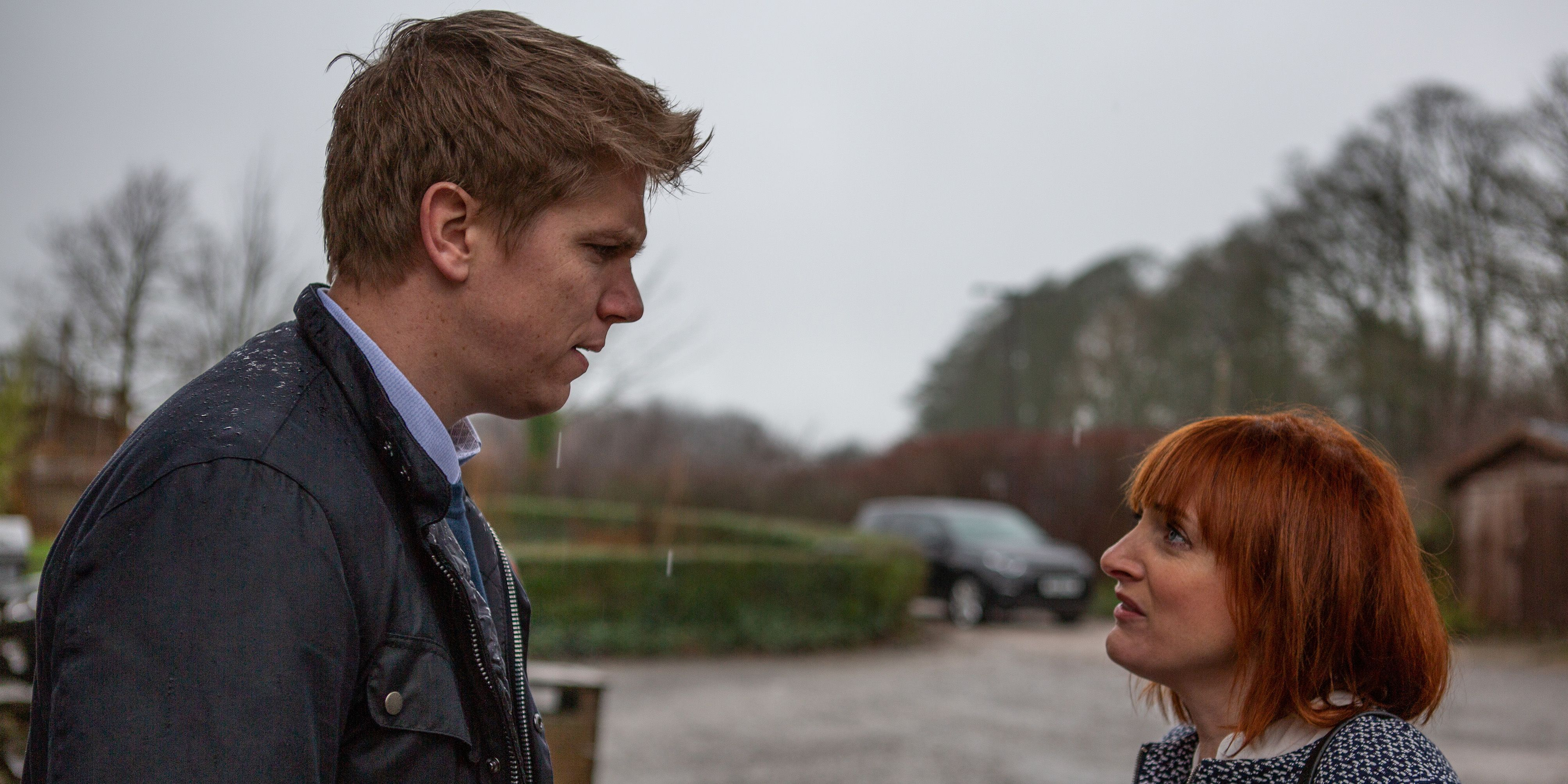 Robert Sugden and Nicola King worry in Emmerdale