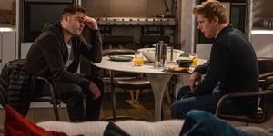 Aaron Dingle is anxious and confides in Robert Sugden in Emmerdale