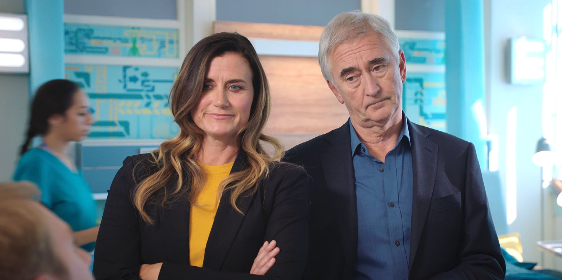 Ange Godard (DAWN STEELE) and Tom Campbell-Gore (DENIS LAWSON) in Holby City