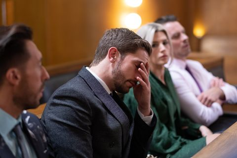 Brody Hudson struggles at Buster's trial in Hollyoaks