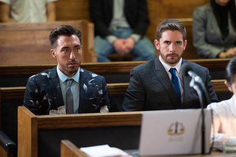Scott Drinkwell and Brody Hudson in court in Hollyoaks