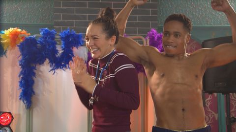 Cleo McQueen and Mitchell Deveraux in Hollyoaks