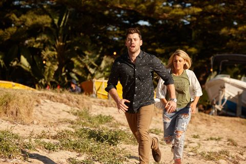 Brody Morgan and Ziggy Astoni rush over to check Raffy is okay in Home and Away