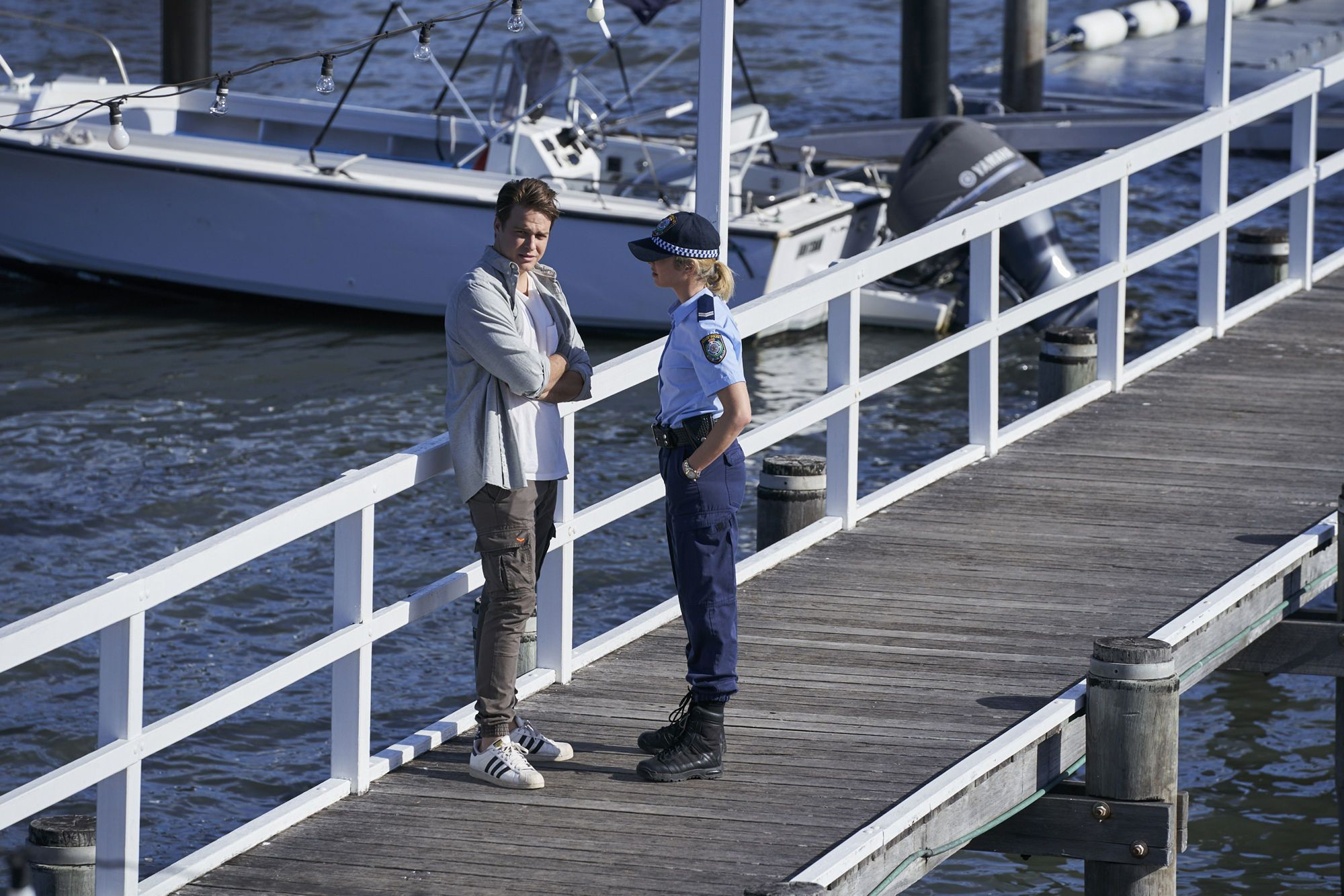 Colby Thorne talks to Chelsea Campbell in Home and Away