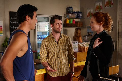 Justin Morgan, Brody Morgan and Simone Bedford in Home and Away