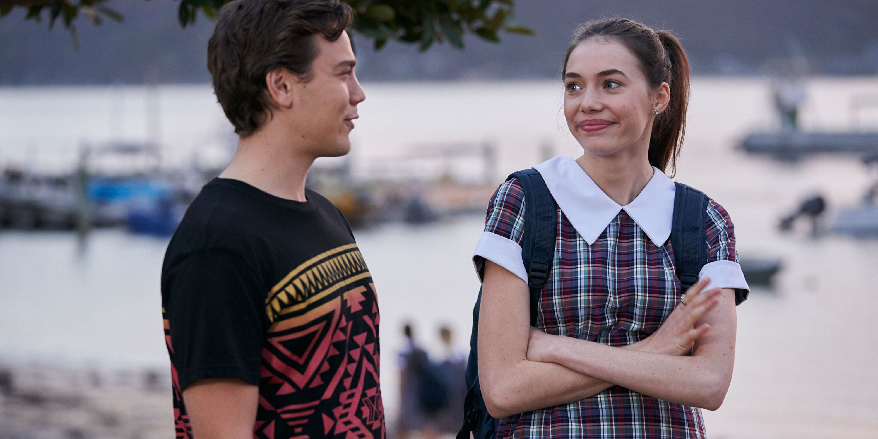 Ryder Jackson and Coco Astoni wait for his exam results in Home and Away