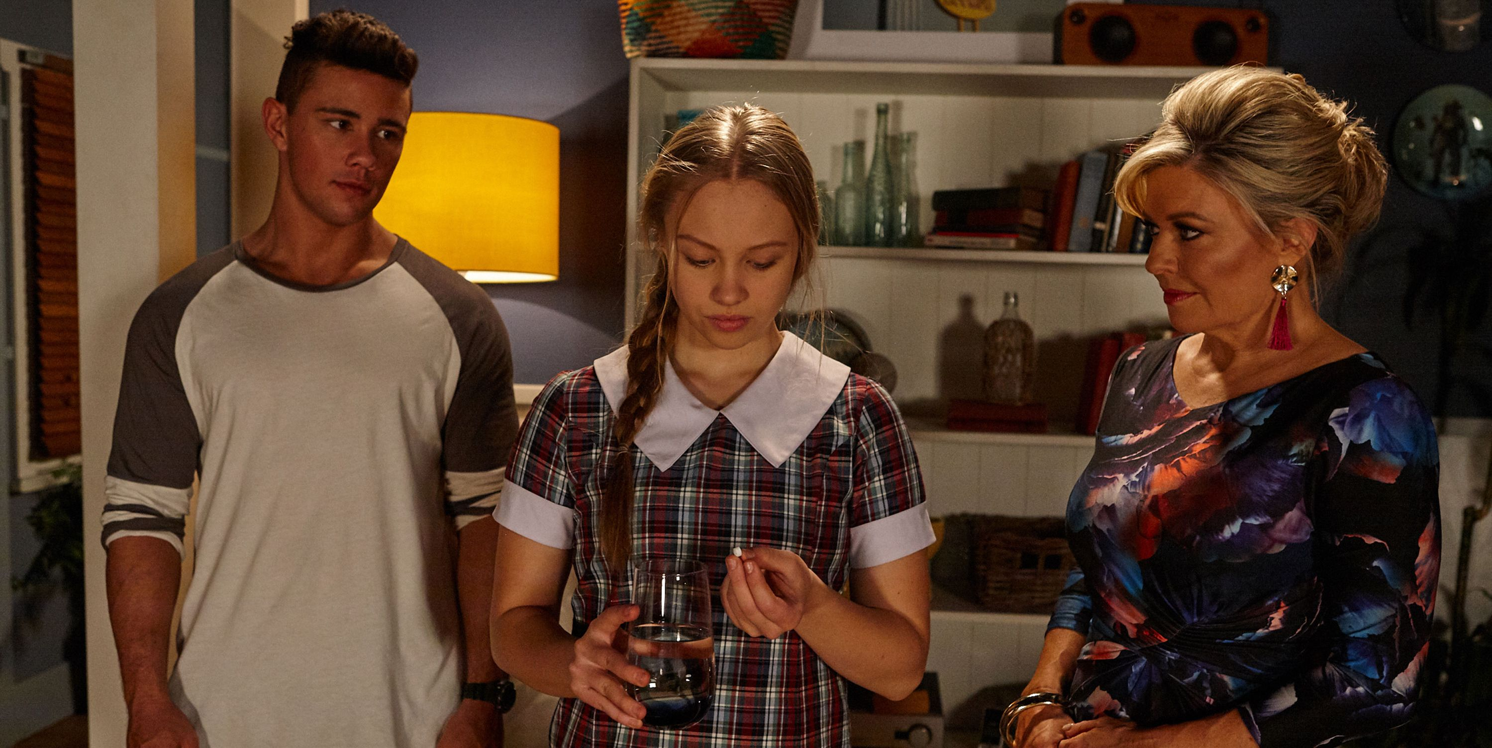 Raffy Morrison is encouraged to take medication by Marilyn Chambers in Home and Away