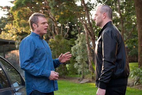 Gary Canning is threatened by Kev in Neighbours