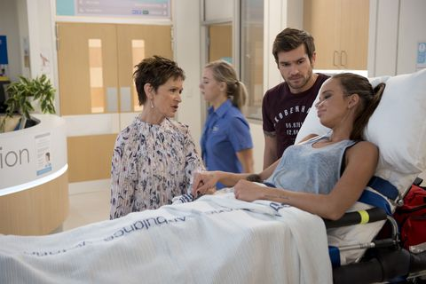 Ned Willis visits Bea Nilsson in hospital in Neighbours