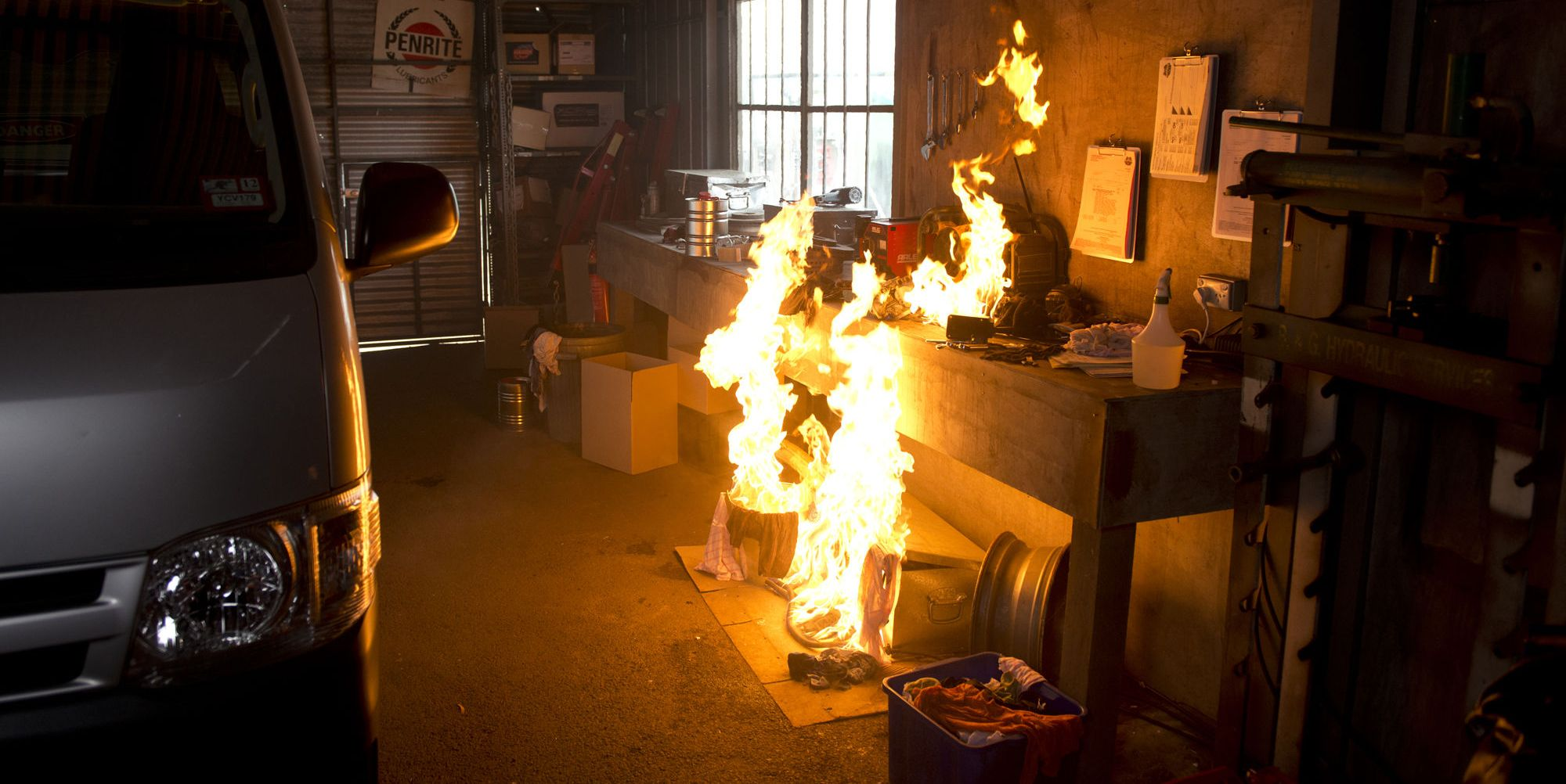 Bea Nilsson gets caught in a fire at the garage in Neighbours
