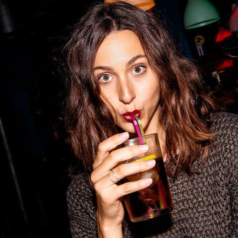 Hair, Lip, Alcohol, Beauty, Liqueur, Drink, Brown hair, Drinking, Long hair, Lip gloss,